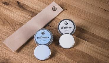 HORL - Premiumschärfe Paket mit Schleifstein #3000 + #6000 + Abziehleder